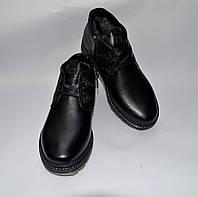 Мужские зимние кожаные ботинки, SLAT, черные, прошитые