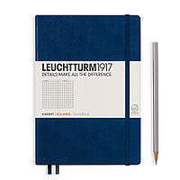 Блокнот Leuchtturm1917 Средний (A5) Тёмно-синий В клетку (14,5х21 см) (342923), фото 1