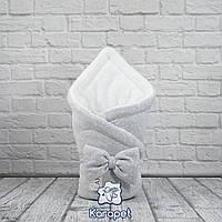 """Зимний конверт на велсофте """"Маленькие стиляжки"""" серый"""