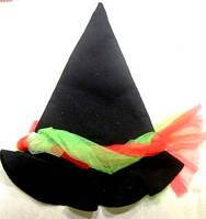 Колпак ведьмы чёрный фетровый с фатином