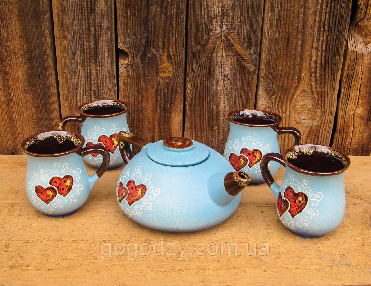 """Чайний набір, декор """"Серце"""" блакитний"""