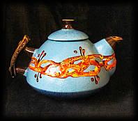 """Чайник """"Ґорґани"""", декор """"крайка"""" блакитний"""