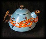 """Чайник """"Ґорґани"""", декор """"крайка"""" блакитний, фото 2"""