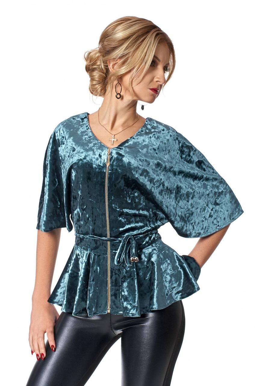 b3512c285cc Удивительная красивая блузка из бархата с рукавом летучая мышь 44 - 50  изумруд