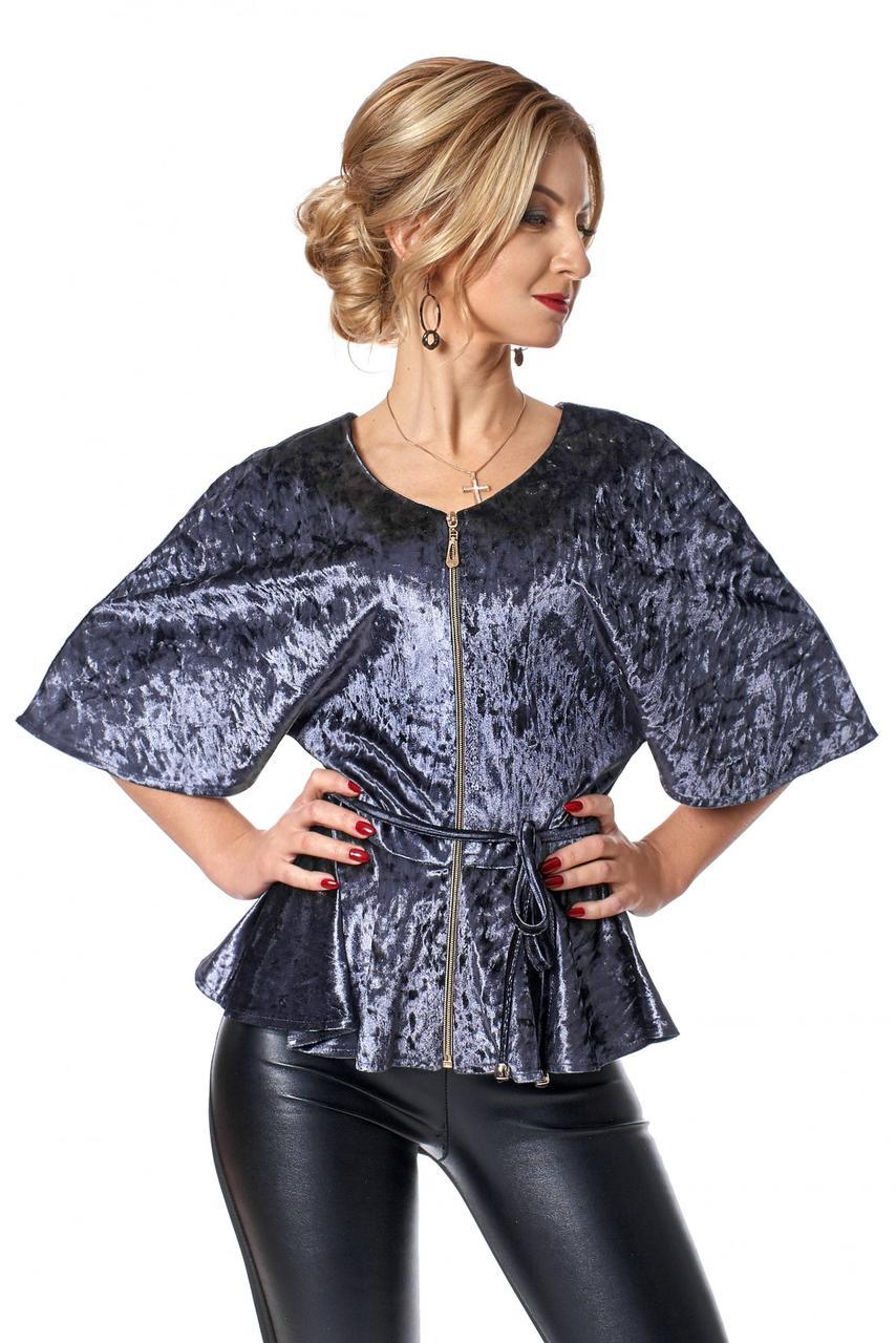 fd627bf67c2 Красивая блузка из бархата с рукавом летучая мышь 44 - 50СЕРЫЙ -  Интернет-магазин одежды