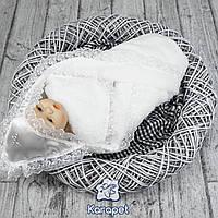 Пеленка крестильная теплая(велсофт) белая