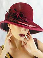 Авторская шляпа с большими  полями  цветком