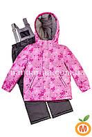 "Зимний термо комплект куртка и брюки на лямках для девочки ""Снежинки"" ТМ ""Baby Line"""