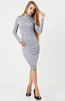 Нежное платье-гольф из ангоры с люрексом, серый