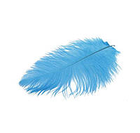 Перо страуса Декоративные (Перья) Голубые 15-20 см 5 шт/уп