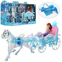Карета 689Y  с лошадью, 51см, кукла, 22см, аксессуары, в кор-ке, 62,5-18,5-28см Артикул: 689Y