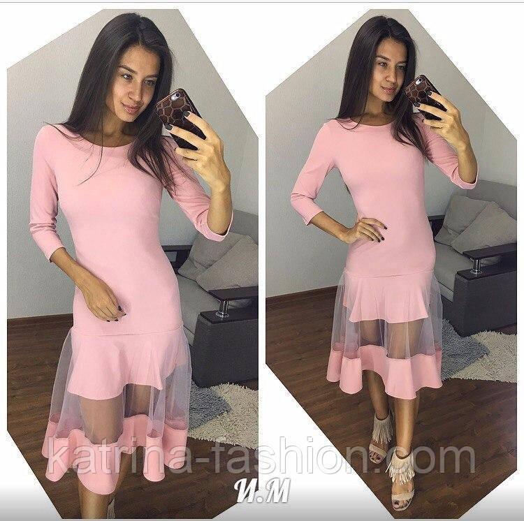 d2129b2d6f5 Женское красивое трикотажное платье со вставками сетки (4 цвета ...