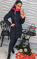 Стильное зимнее пальто из плащевки с воротником стойкой (разные цвета)