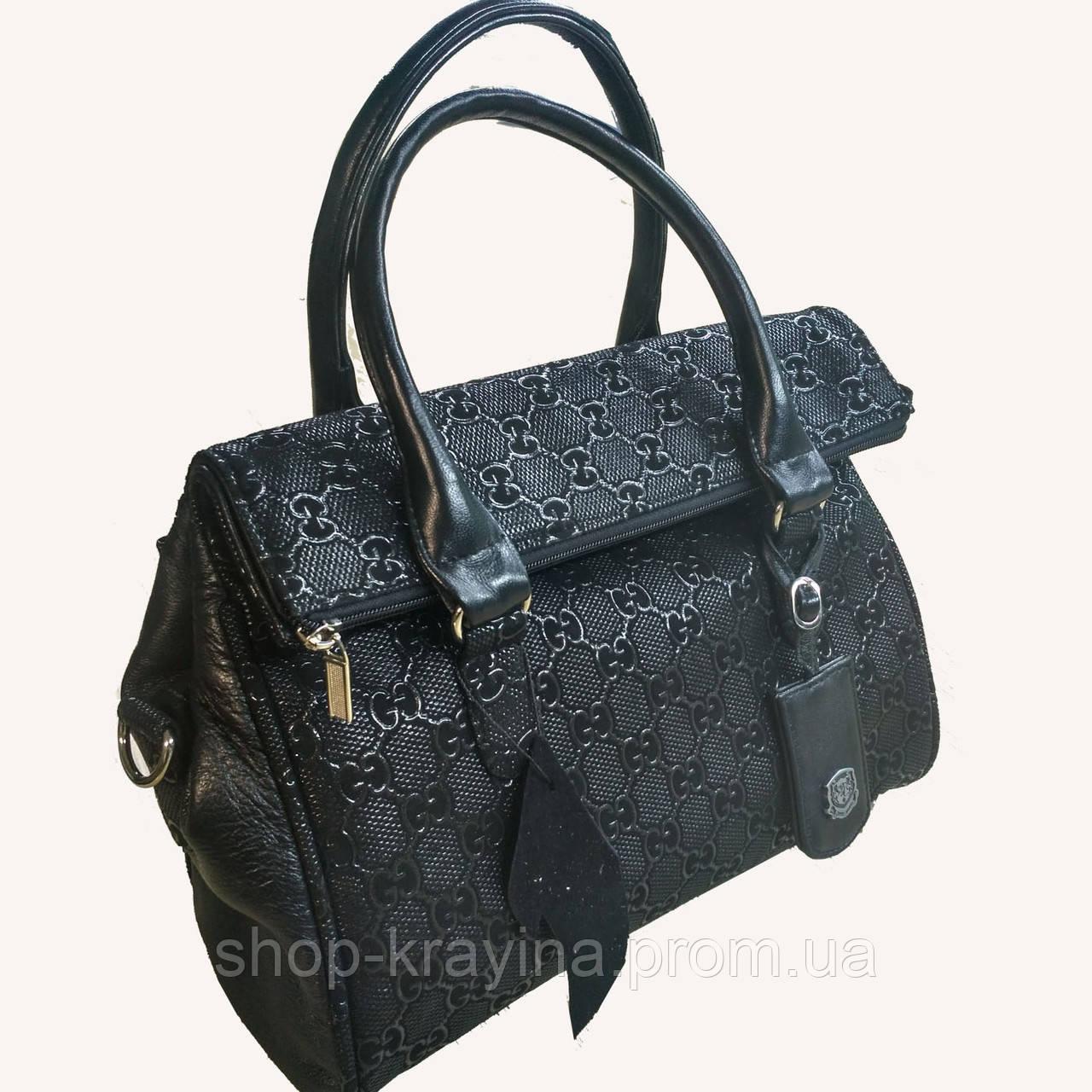 Кожаная сумка leather  black 25*30*10 см