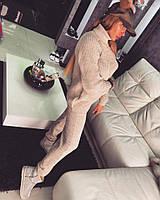 Женский вязаный спортивный костюм бежевого цвета Бучка, женские вязаные костюмы оптом от производителя