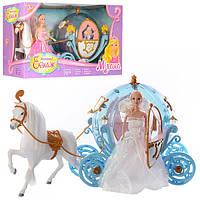 Карета 28903A  с лошадью, 55см, свет, кукла 29см, на бат-ке, 2цвета, в кор-ке, 60,5-20-33,5см
