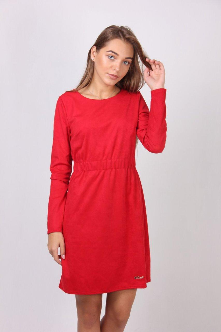 Женское  замшевое приталенное платье  разных цветов.