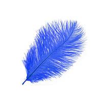 Перо страуса Декоративные (Перья) Синие 15-20 см 5 шт/уп