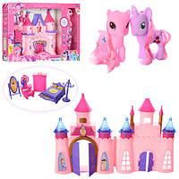 Замок 8838-39XM (24шт) LP,принцессы, муз,свет,лошадка 2шт,мебель,2вида,на бат(таб),в кор,54-34,5-7см
