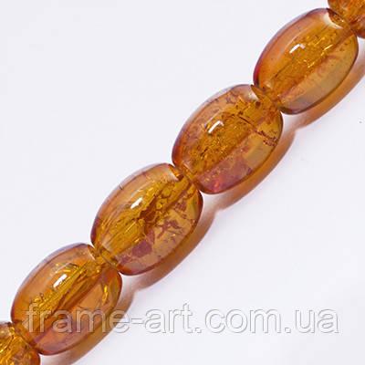 Бусины Битое Стекло Овальные 11*8мм Оранжевый А20
