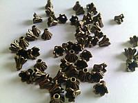 Обниматель для бусин Незабудки 5,5*6,1мм антическая бронза