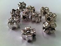 Бусины металлические Виола 8*4мм антическое серебро