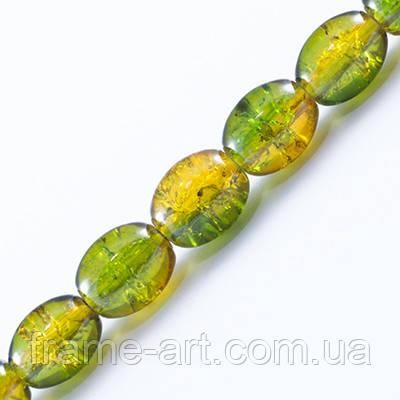 Бусины Битое Стекло Двухцветные Овальные 8*6мм Зеленый А48