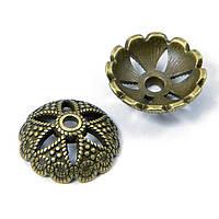 Шапочки для Бусин, метал. цветок 20*7мм бронза 4шт