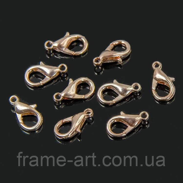 Застежка Карабин-лобстер 12*6мм розовое золото 50шт