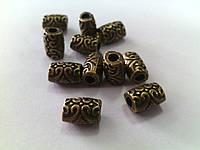 Бусины металлические Узор 8*4мм антическая бронза