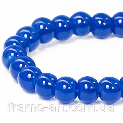 Бусины Стекло Имитация Нефрит Круглые 4мм Синий DK101