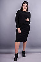 Моника ангора. Красивое платье больших размеров для женщин. Черный.