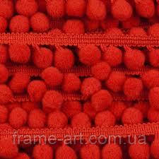 Крафт кружево с помпонами красн LA00002