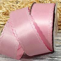 Лента атласная двухслойная с перфорцией 1045-7 38 мм розовая
