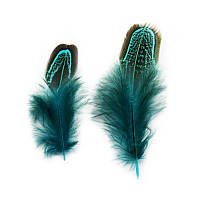 Перья фазана Декоративные (Перо) Бирюзовые 4-8 см 10 шт/уп