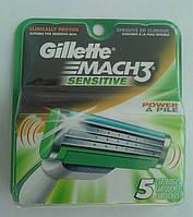 Картриджи Gillette Mach3 Sensitive Power Оригинал 5 шт в упаковке производство США, фото 1