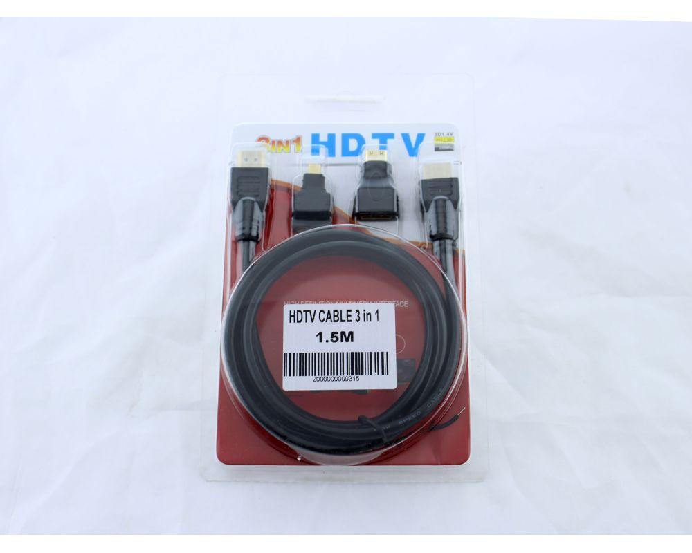 Кабель HDMI 3 in 1 1,5m,micro,mini,HDMI