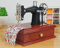 Винтажные мини швейная машинка механическая музыкальная шкатулка 14x9x14 см подарок рукодельнице!