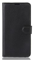 Кожаный чехол-книжка для  Huawei Y5 (2017) / Huawei Y6 (2017) черный