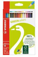 Карандаши цветные 18 цветов STABILO GREEN Color 290252 Stabilo