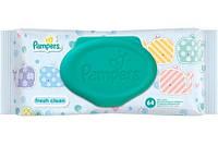 Pampers Fresh Clean влажные салфетки (с клапаном), 64 шт.