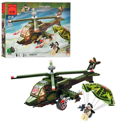 Конструктор BRICK 818  военный вертолёт, фигурки 2шт, 275 дет, в кор-ке, 33,5-23-5см