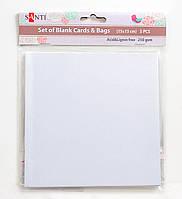 Набор белых перламутровых заготовок для открыток, 15см*15см, 250г/м2, 5шт. 952250 Santi