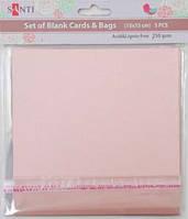 Набор розовых перламутровых заготовок для открыток, 15см*15см, 250г/м2, 5шт.