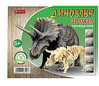"""Набор 3D пазл динозавр """"Triceratops"""", деревянный."""