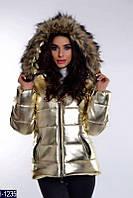 """Стильная утепленная женская куртка """"Сильвер"""" из экокожи золотистого цвета. Арт - 18276"""