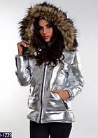 """Стильная утепленная женская куртка """"Сильвер"""" из экокожи цвета серебро. Арт - 18276"""