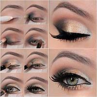 Данный макияж был выполнен с помощью: 1. Теней для век. Pupa-http://luxryad.com/p24061021-teni-dlya-vek.html 2. Жидкой подводки MaxFactor Xperience-http://luxryad.com/p30476601-zhidk 3.Карандаша для глаз Bourjois(черный)