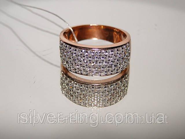 Кольцо серебряное позолоченное