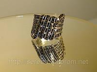Кольцо из капельного серебра с марказитом